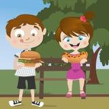 Miúdos que comem o fast food ilustração do vetor