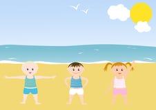 Miúdos que fazem exercícios ilustração royalty free