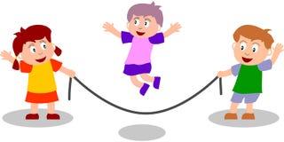 Miúdos que jogam - corda de salto ilustração do vetor