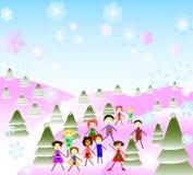 Miúdos que jogam na paisagem do inverno da fantasia Ilustração Stock