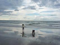 Miúdos que jogam na praia Foto de Stock