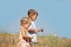 Miúdos que jogam no campo Imagem de Stock