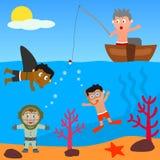 Miúdos que jogam no mar Fotos de Stock Royalty Free