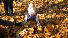 Miúdos que jogam no parque do outono Uma menina encontra-se em uma pilha das folhas amarelas, folhas derrama para baixo sobre ela video estoque