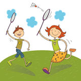 Miúdos que jogam o badminton Foto de Stock Royalty Free