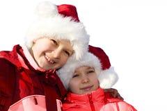 Miúdos que jogam Papai Noel fotografia de stock