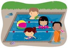 Miúdos que nadam Foto de Stock Royalty Free