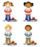 Miúdos que prendem fontes de escola ilustração royalty free