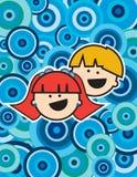 Miúdos sobre um fundo azul do círculo Imagens de Stock