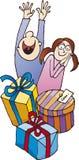 Miúdos surpreendidos por presentes de Natal Imagem de Stock