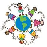 Miúdos, terra e paz-AMÉRICA ilustração royalty free