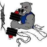 Mięśnia hipopotama kreskówki sprawności fizycznej ciężaru stażowy gym Zdjęcia Stock