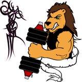 Mięśnia lwa kreskówki sprawności fizycznej ciężaru stażowy gym Obrazy Stock