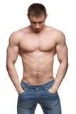 Mięśnia mężczyzna pozuje w studiu Zdjęcie Royalty Free