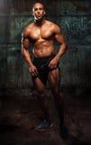 Mięśnia mężczyzna pozuje w studiu obrazy stock