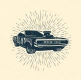 Mięśnia samochód, rocznik projektował wektorową ilustrację Zdjęcia Stock