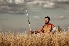 Mięśniowa średniowieczna wojownik pozycja w polu Obraz Stock