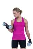 Mięśniowa kobieta ćwiczy z dumbbells Zdjęcia Stock