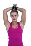 Mięśniowa kobieta ćwiczy z dumbbells Zdjęcie Stock