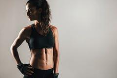 Mięśniowa kobieta w cieniu z brzusznymi mięśniami Obraz Royalty Free