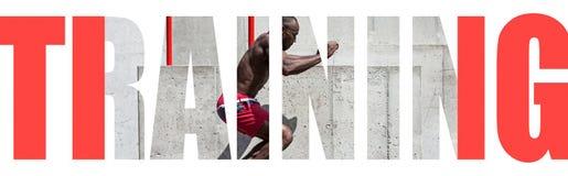 Mięśniowa młoda męska atleta, kreatywnie kolaż obraz royalty free