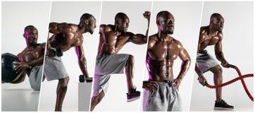 Mięśniowa młoda męska atleta, kreatywnie kolaż fotografia royalty free