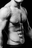 Mięśniowa seksowna półpostać młody sporty mężczyzna z perfect abs zakończeniem up Czarny i biały na czarnym tle Fotografia Royalty Free