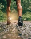 Mięśniowe łydki dysponowany męski jogger szkolenie dla przecinającego kraju lasowego śladu ścigają się w deszczu na natura śladzi Obraz Royalty Free