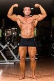 Mięśniowego ciała budowniczy pokazuje jego frontowych dwoistych bicepsy Obrazy Royalty Free