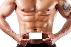 Mięśniowej sprawności fizycznej wzorcowy pozować bez koszuli, zbliżenie Zdjęcia Stock