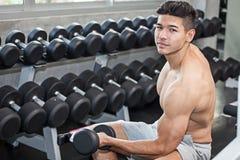 Mięśniowy bodybuilder facet robi ćwiczeniom siedzi z ciężaru lif fotografia stock