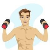 Mięśniowy bodybuilder facet robi ćwiczeniom z dumbbells ilustracji