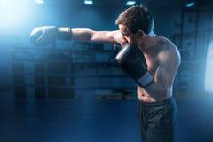 Mięśniowy bokser trenuje w gym w czarnych rękawiczkach obrazy royalty free