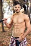 Mięśniowy dysponowany lumberjack Zdjęcie Stock
