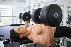 Mięśniowy mężczyzna ćwiczy z dumbbells w gym Zdjęcia Royalty Free