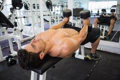 Mięśniowy mężczyzna ćwiczy z dumbbells w gym Zdjęcia Stock
