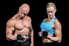 Mięśniowy mężczyzna i kobieta koncentruje podczas gdy podnoszący dumbbells Zdjęcie Stock