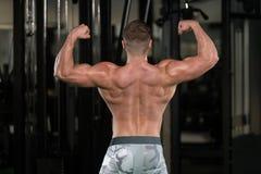 Mięśniowy mężczyzna Napina mięśnia tyły kopii bicepsów pozę Obraz Royalty Free