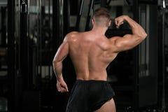 Mięśniowy mężczyzna Napina mięśnia tyły kopii bicepsów pozę Zdjęcia Stock