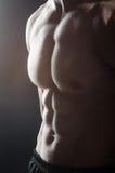 Mięśniowy mężczyzna pozuje w ciemnym studiu Fotografia Stock