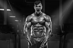 Mięśniowy mężczyzna pracujący w gym out, bodybuilder, silny męski półpostaci abs Zdjęcie Royalty Free