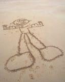 Mięśniowy mężczyzna w piasku Obraz Royalty Free
