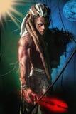 Mięśniowy mężczyzna z dreadlocks wilkołakiem na kolorowym tle w Zdjęcia Stock