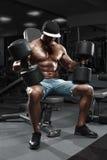 Mięśniowy mężczyzna z dużymi dumbbells pracującymi w gym out, robi ćwiczeniu Fotografia Stock
