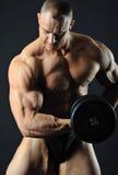 Mięśniowy mężczyzna z dumbbell Zdjęcie Royalty Free