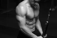 Mięśniowy męski bodybuilder robi triceps ćwiczeniu Obraz Royalty Free
