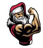 Mięśniowy Santa Claus przedstawienie jego bicep ręka royalty ilustracja