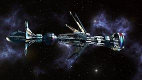 Międzygwiazdowy Warpdrive statek kosmiczny ilustracja wektor