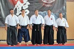 Międzynarodowa ława przysięgłych przy początkującym Europejskim karate mistrzostwem Fudokan Fotografia Stock