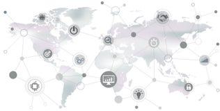 Międzynarodowa firma: biznesowy występ, sieć, digitalizacja/- ilustracja royalty ilustracja